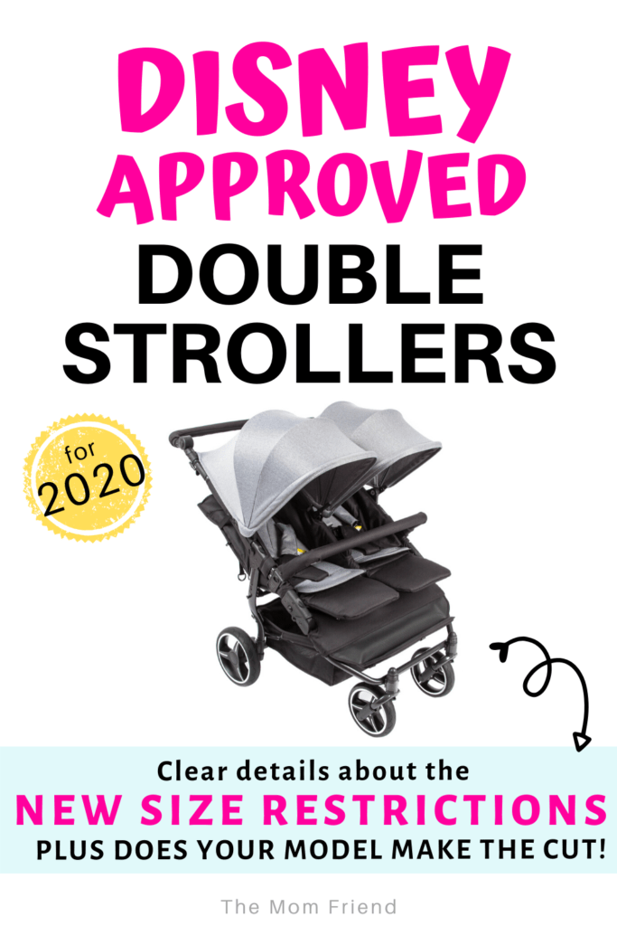 image of double stroller with text disney approved double strollers for 2020 size requirements