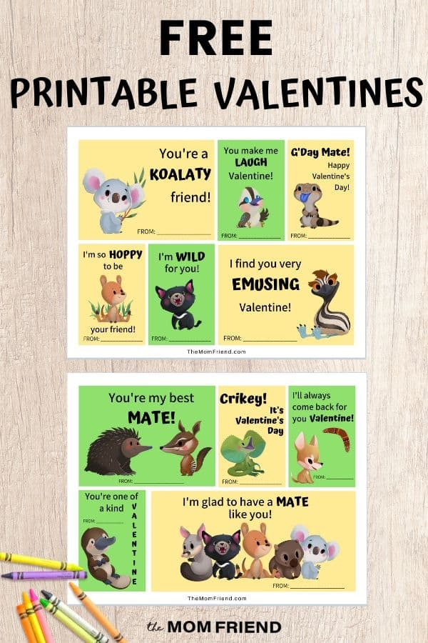 free printable valentines with australian animals