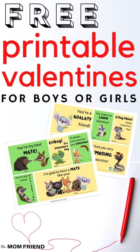 image of free printable valentines for kids that have Australian animals on them