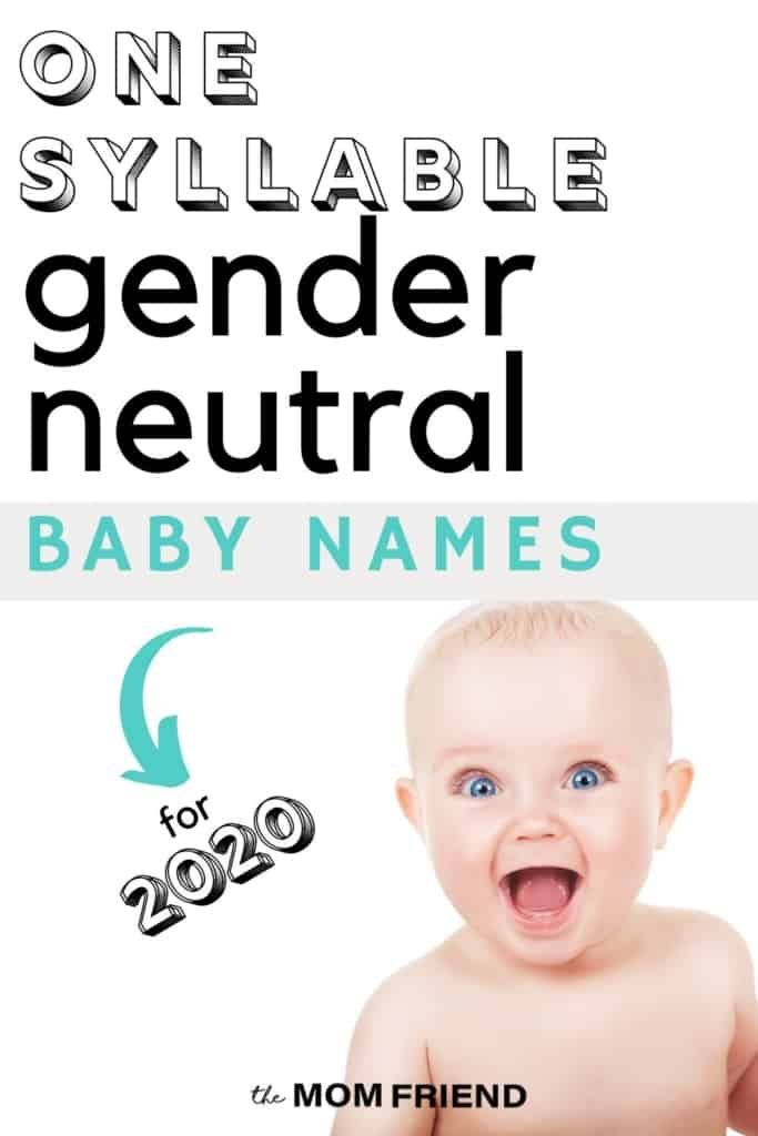 wide eyed baby with text one syllable gender neutral baby names for 2020