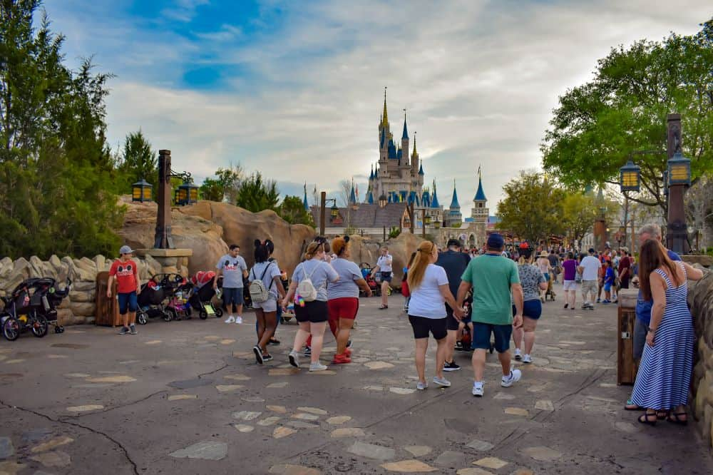 people walking with strollers at disney world