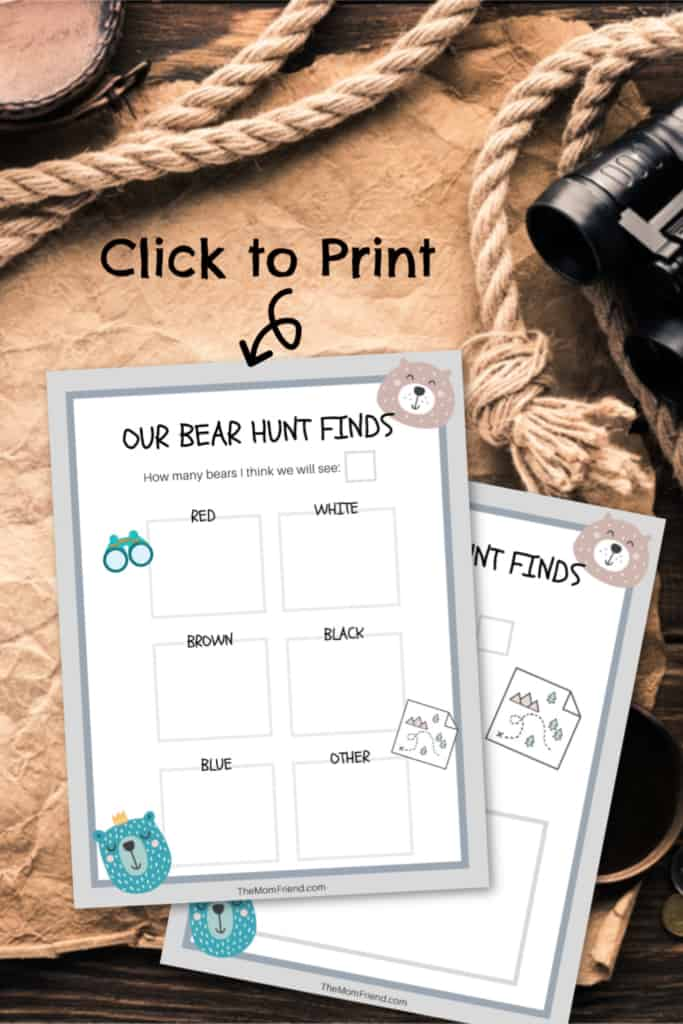"Printable for neighborhood activity to hunt for \""bears\""."