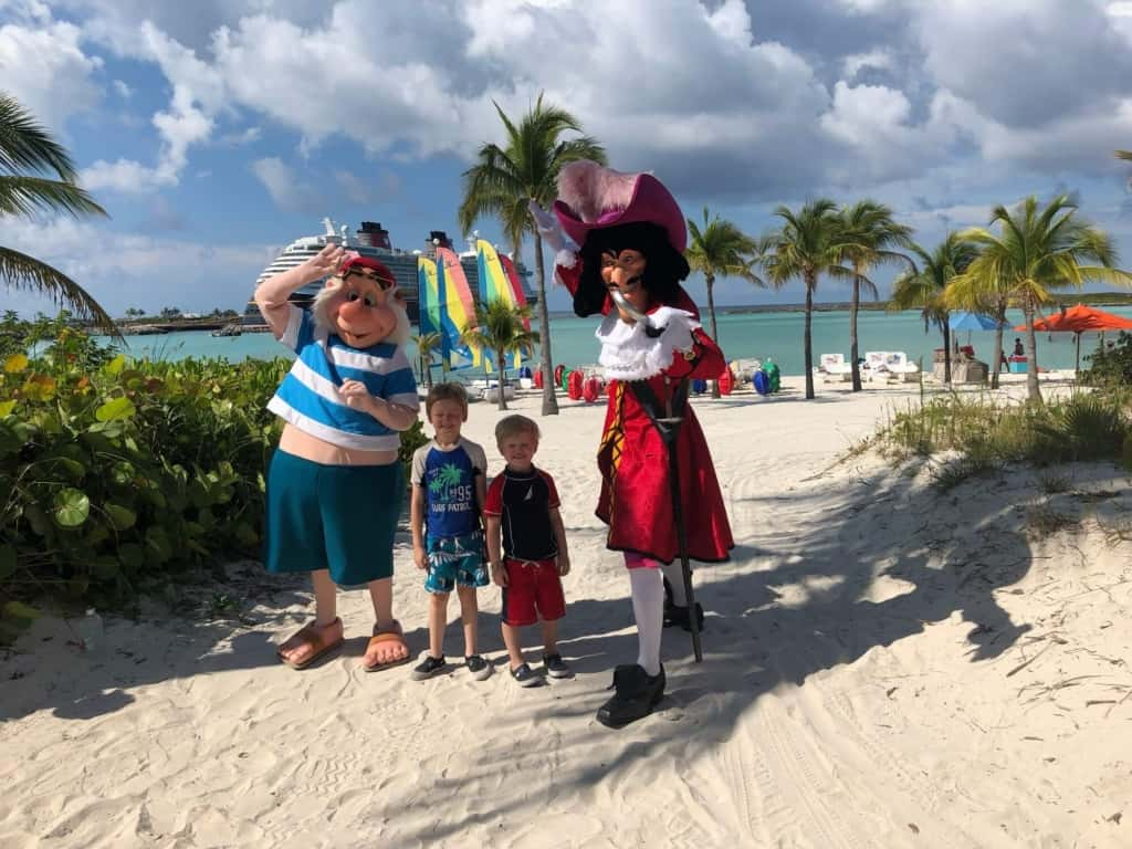 disney characters with kids on Castaway Cay