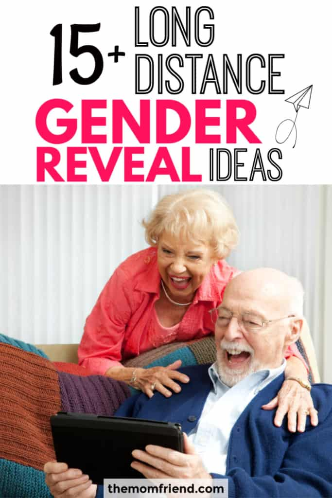 "Excited grandparents using a tablet with text ""15 long distance gender reveal ideas."""