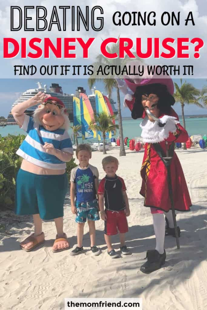 kids with disney characters on beach at castaway cay