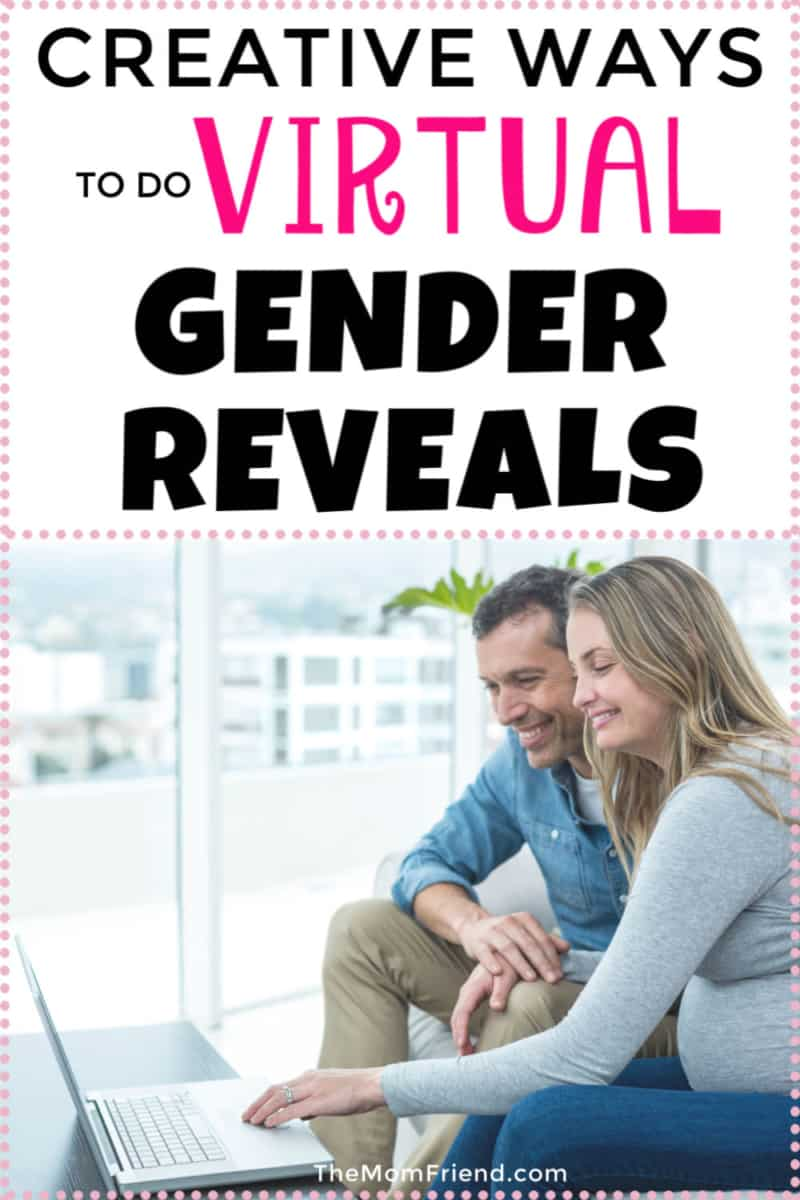 ways to do virtual gender reveals in text with pregnant couple using laptop