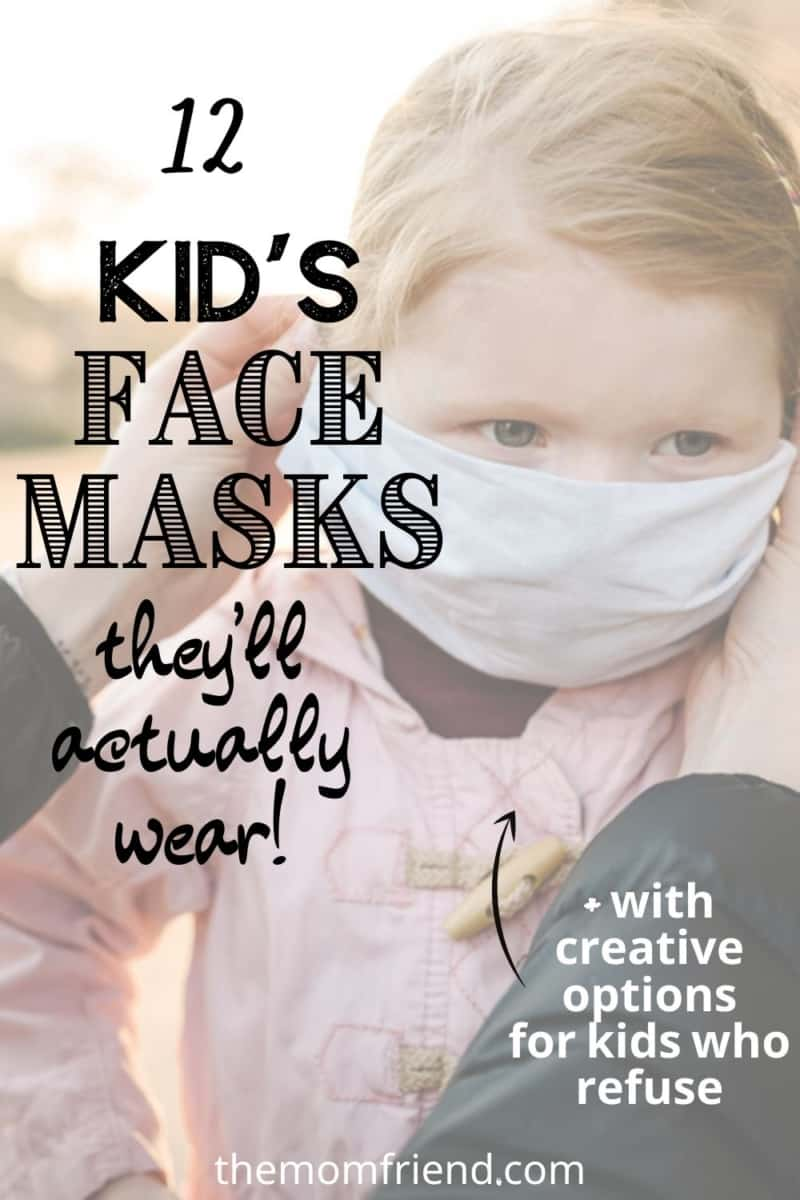kids face masks in text with toddler wearing one