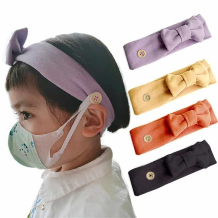 Headband with Button (Doubles as a Mask Holder)