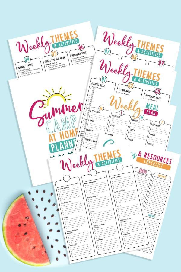 summer camp at home printable activties and themes