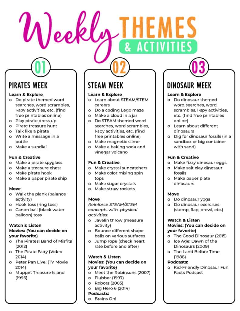 weekly theme and activity ideas for summer camp at home