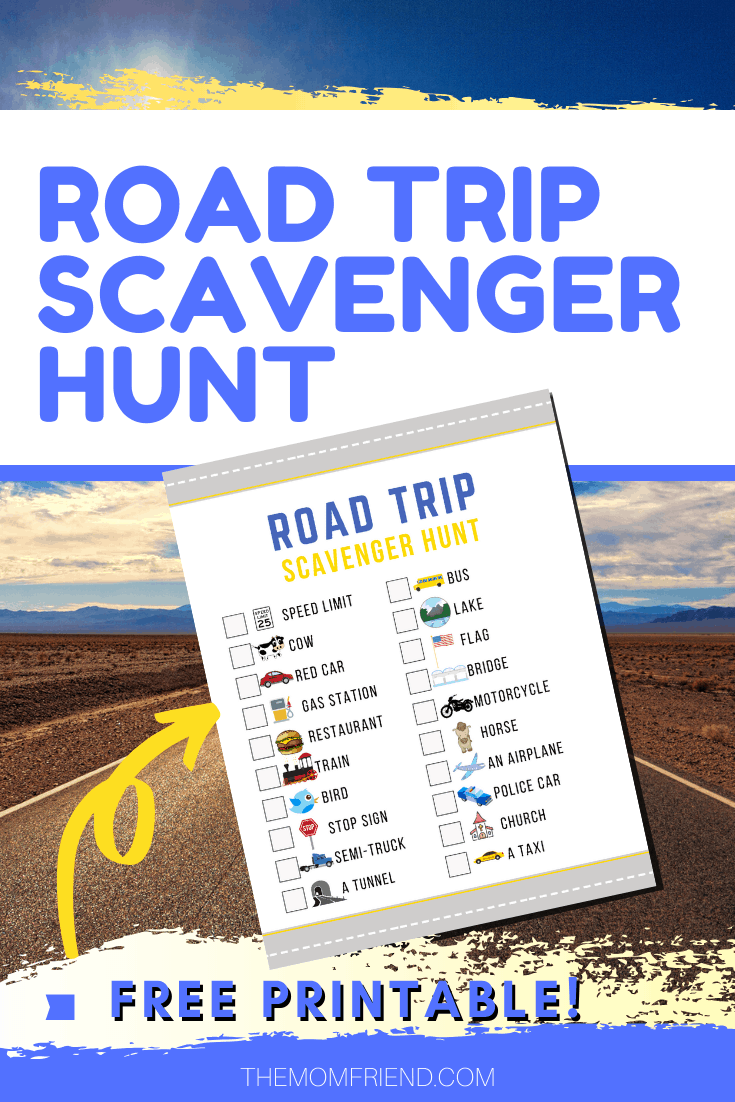 photo of a free printable road trip scavenger hunt activity for kids