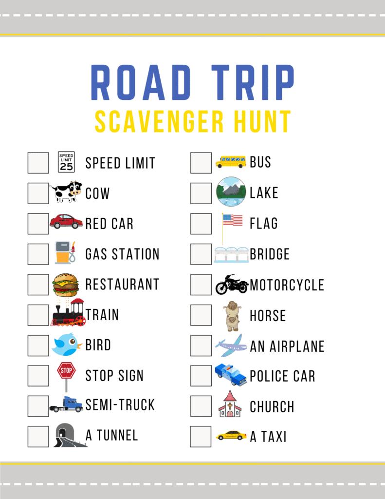Printable for road trip scavenger hunt.