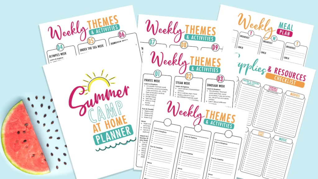 free summer camp at home printable packet with themes, menu, ideas and activities sheets