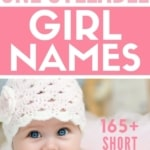 adorable baby girl wearing hat with text one syllable girl names