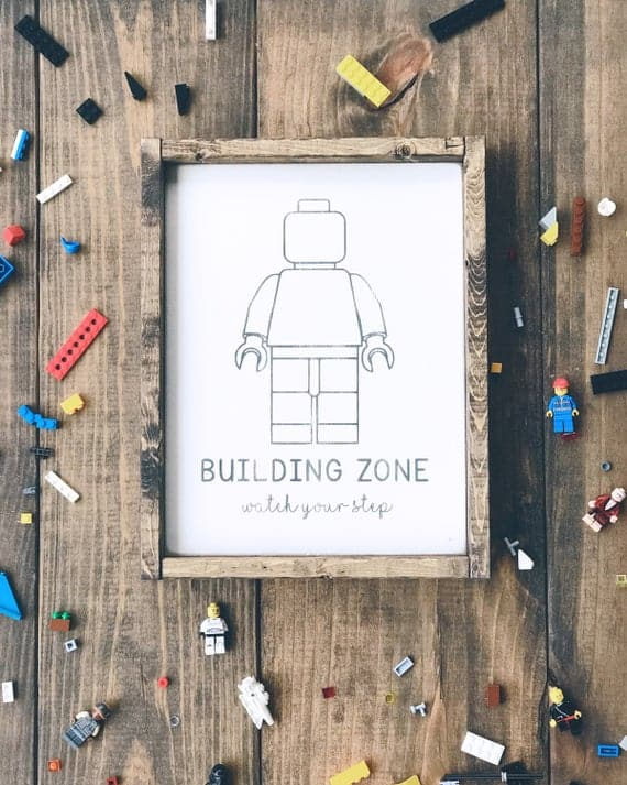 Lego Building Zone Wood Sign