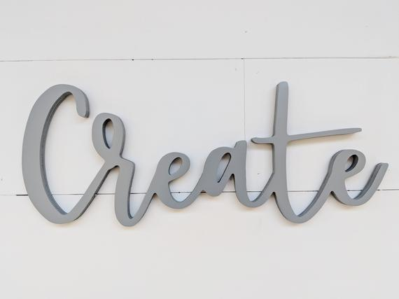 Wooden Create word cutout