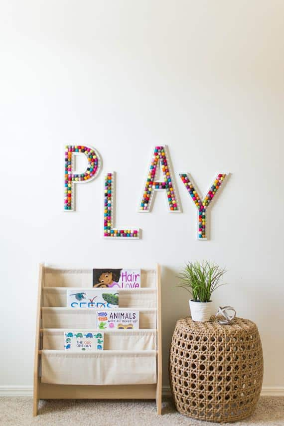 PLAY Wooden Wall Sign with Felt Ball