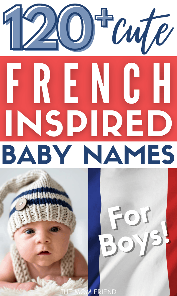 little baby boy with french boy names text and french flag colors