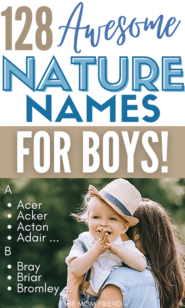 cute baby boy in hat with text awesome nature names for boys