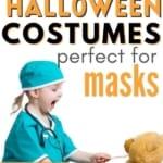 girl in doctor halloween costume tending to bear