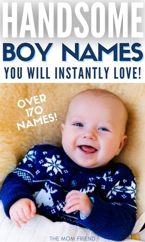 smiling handsome baby boy with text boy names