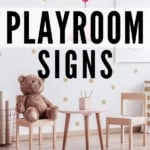 modern playroom with text stylish playroom signs