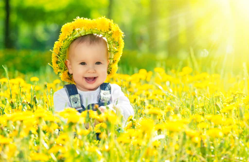 Baby wears fairy crown made of flowers, surrounded by yellow blooms.