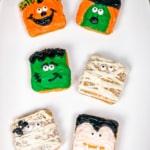 halloween treats on mini cakes