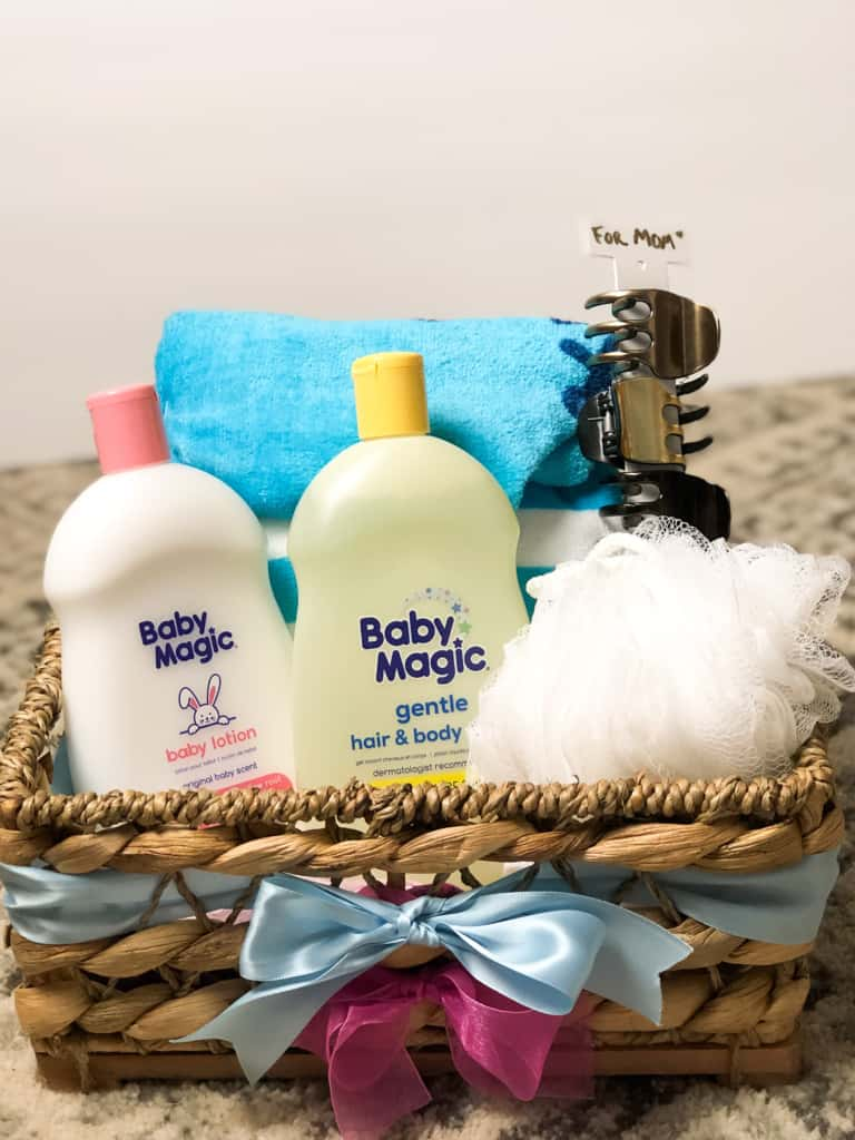 baby shower gift basket with baby bath items