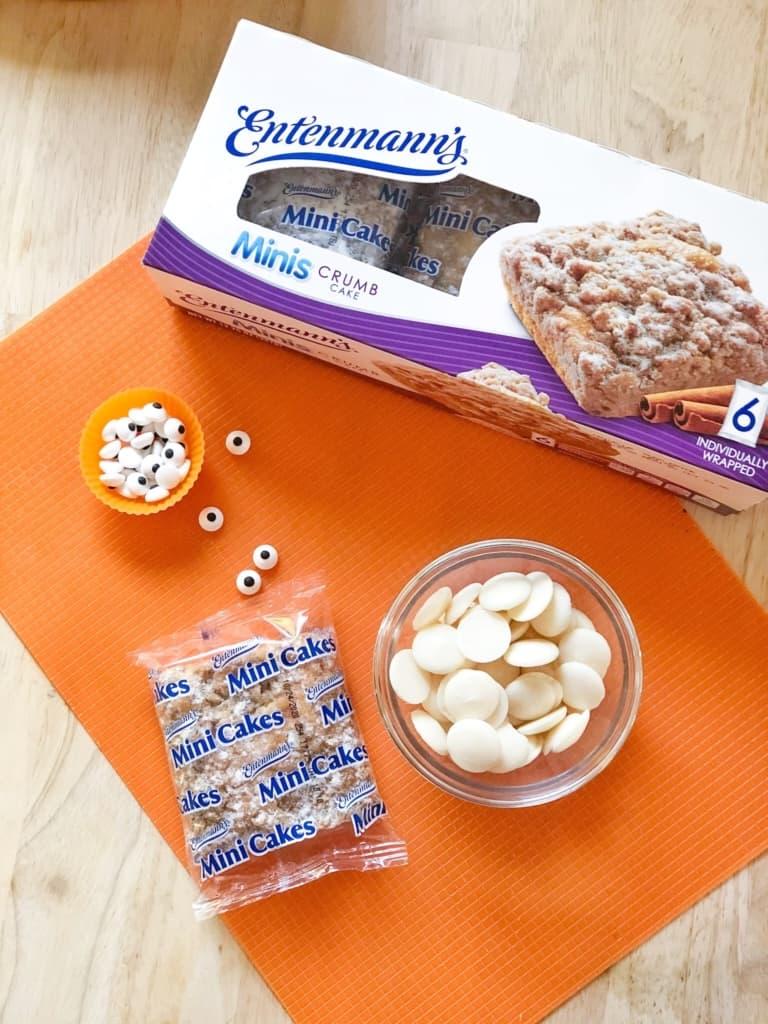 Ingredients to make Mini Mummy Cakes Halloween snacks.