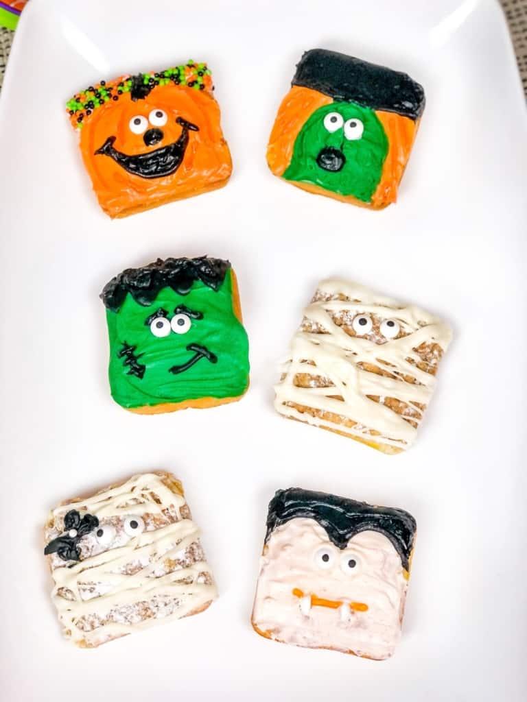 Halloween themed snacks on plate.