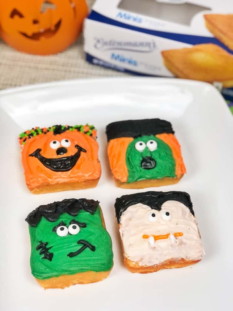 Halloween snack cakes on plate.