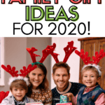 family wearing antler headbands with text incredible family gift ideas for 2020