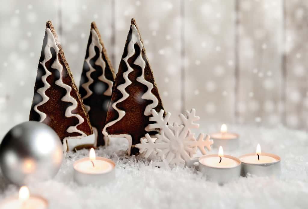 Christmas tree mantel decor.