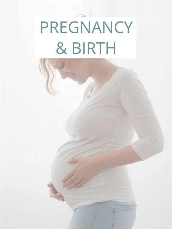 image of pregnant woman with caption: pregnancy and birth