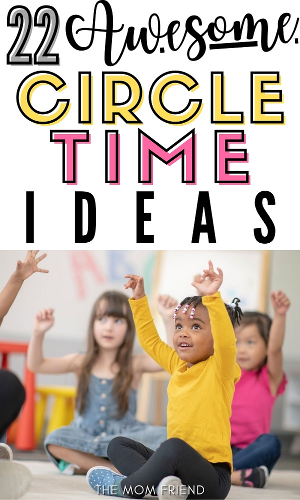 Pinnable image of toddlers doing circle time activities.