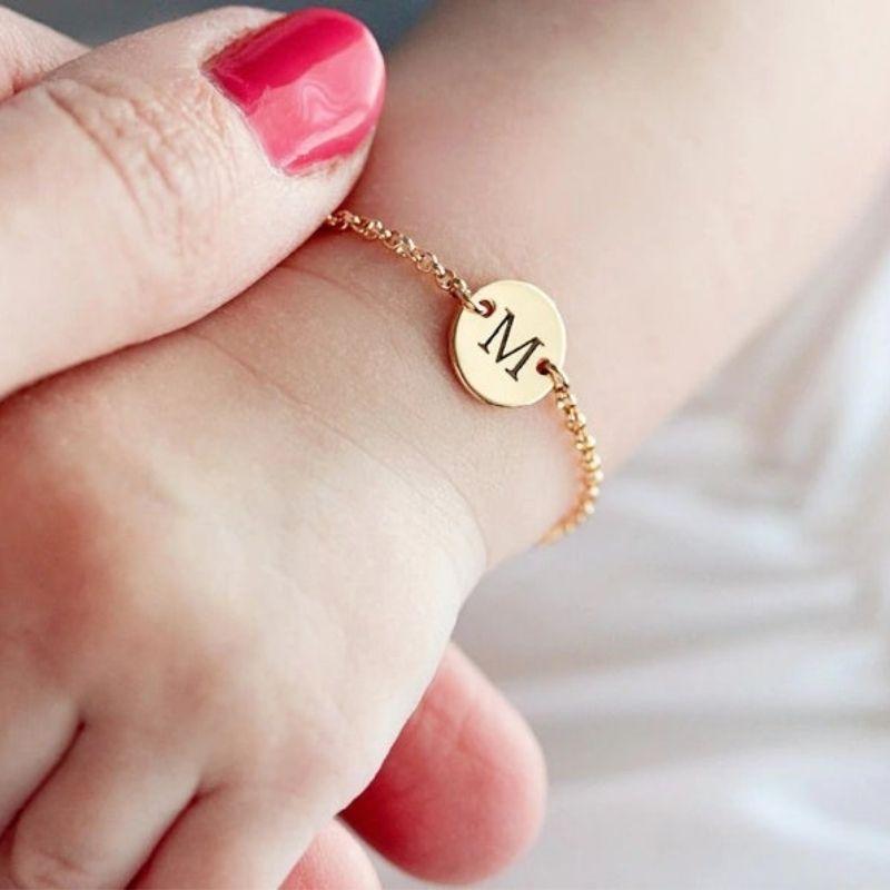 Monogramed baby girl bracelet.