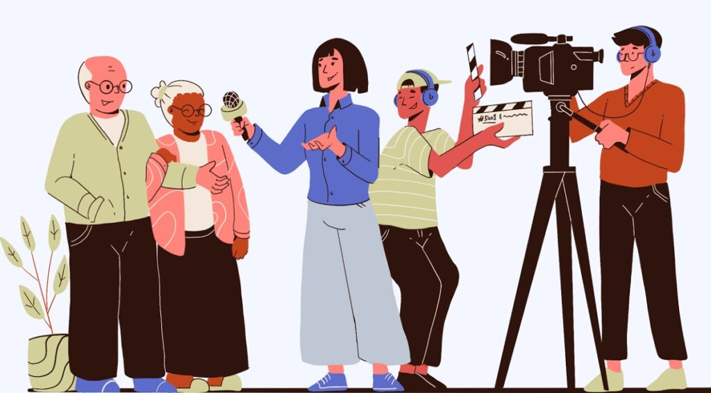 Drawing of family capturing family stories with video camera.
