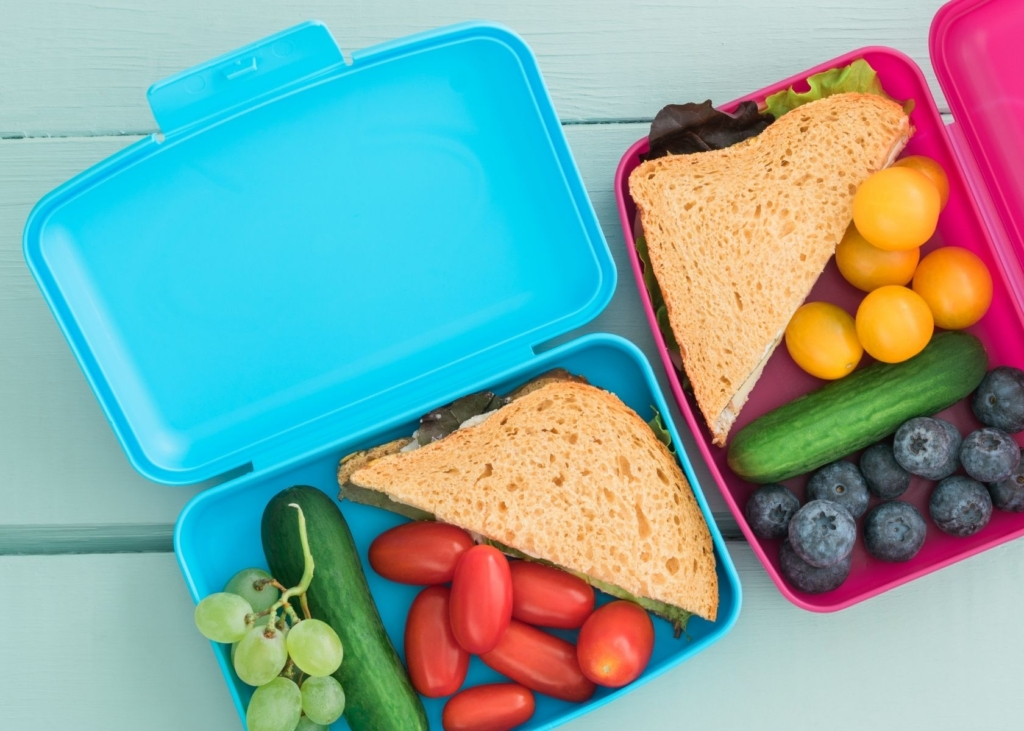 Make ahead lunches in lunch boxes.