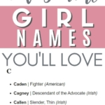 Pinnable image with list of masculine girl names.