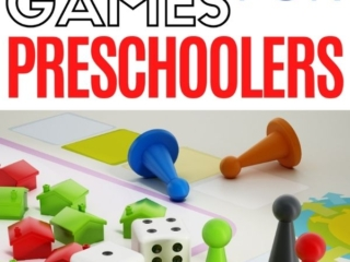 Pinnable image of board games for toddlers.
