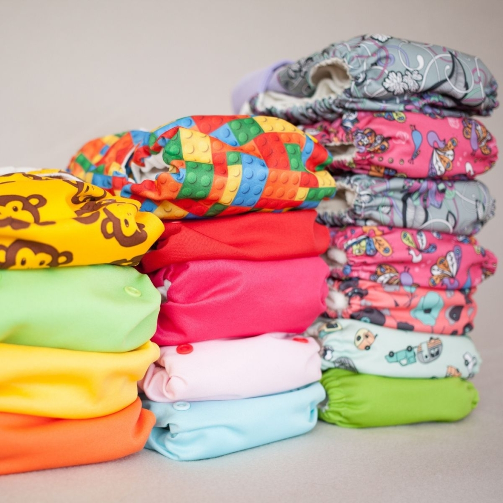 Stack of cloth diapers.