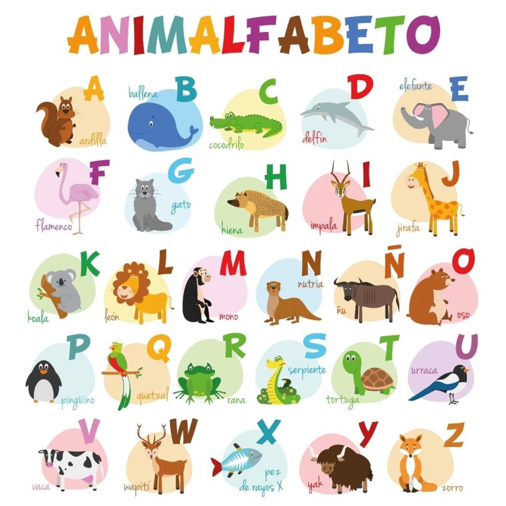 Spanish zoo animal pictures for preschoolers.