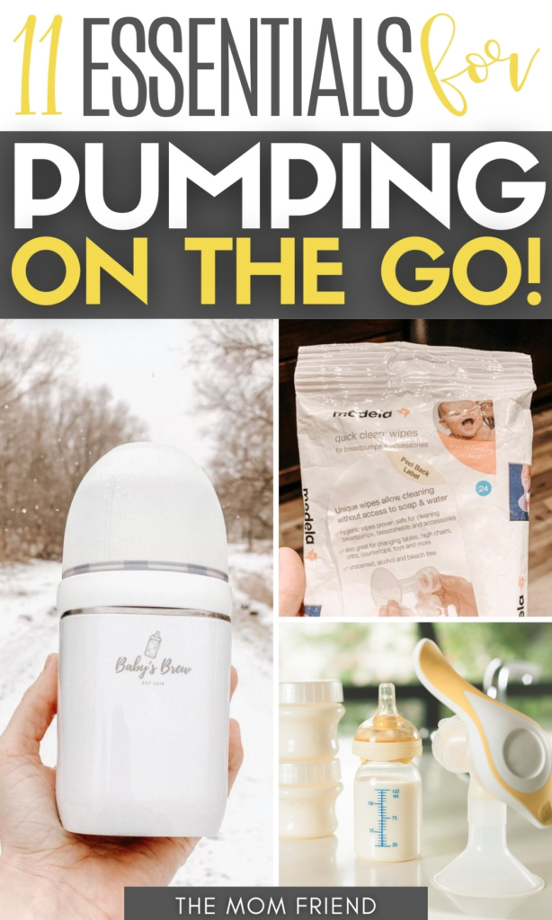 """Pinterest graphic with text for """"Essentials for Pumping on the Go"""" and collage of pumping supplies."""