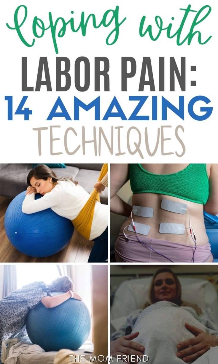 Pinterest graphic with text and collage of methods for coping with labor pain.