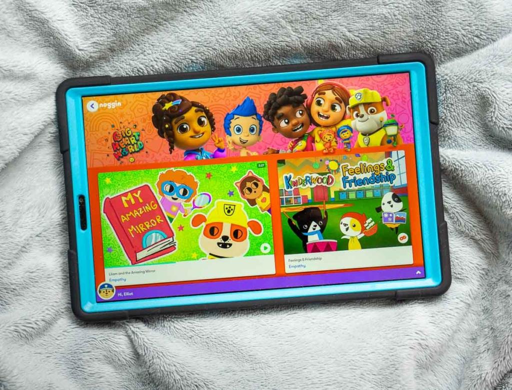 Tablet showing Noggin app's Big Heart World section.