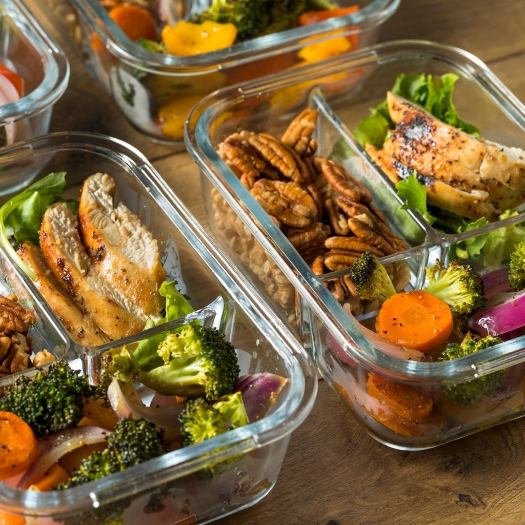 Meal prep containers to take for a packed lunch.