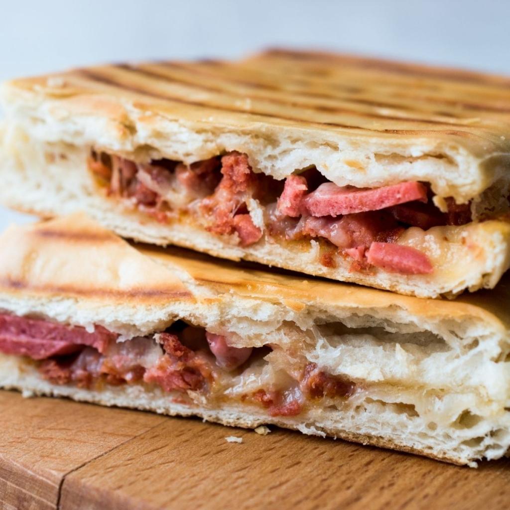 Pressed panini sandwich.