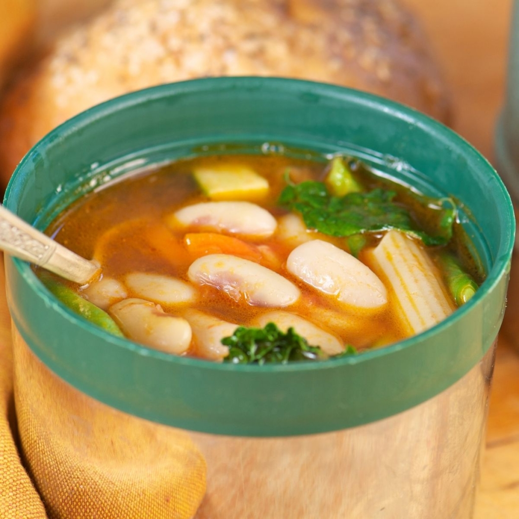 Hot soup lunch in a thermos.