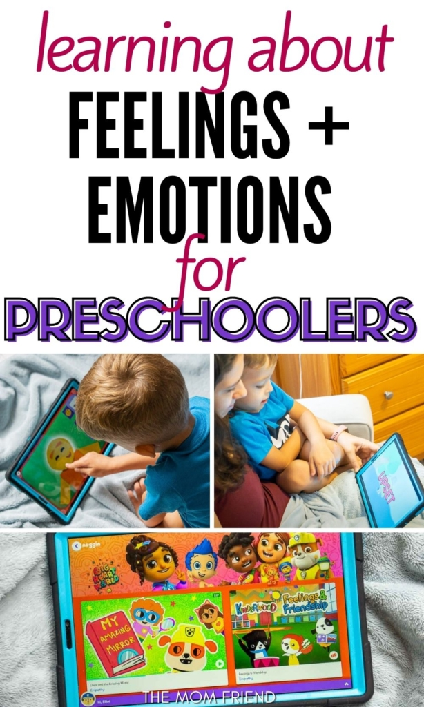 Pinnable image with text: Learning about feelings and emotions for preschoolers.